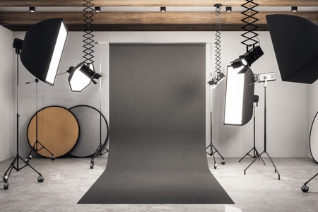 Modern photo studio interior with black background, professional equipment and concrete floor. Mock up, 3D Rendering Stok Fotoğraf