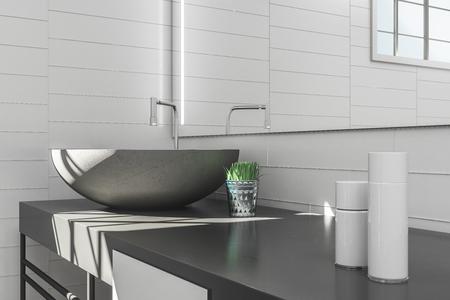 Gros plan sur l'intérieur de la salle de bain moderne avec lavabo et miroir. Concept de style de luxe. Rendu 3D Banque d'images