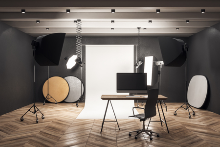 Clean photo studio workplace with professional equipment. 3D Rendering