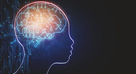Abstrakter Kopfentwurf mit Schaltungsgehirn. Künstliche Intelligenz und Webkonzept. 3D-Rendering Standard-Bild