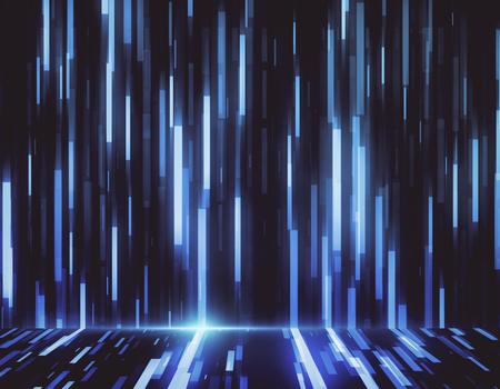 Telón de fondo de líneas azules digitales brillantes creativas. Representación 3D