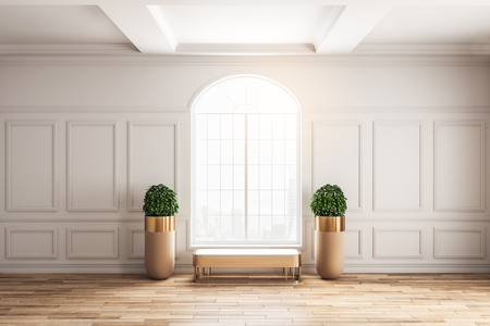 Modern classical interior with window, bench, pot trees and sunlight. 3D Rendering Standard-Bild
