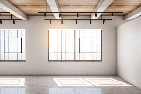 Contemporary concrete and wooden warehouse interior with windows and sunlight. Storage concept. 3D Rendering