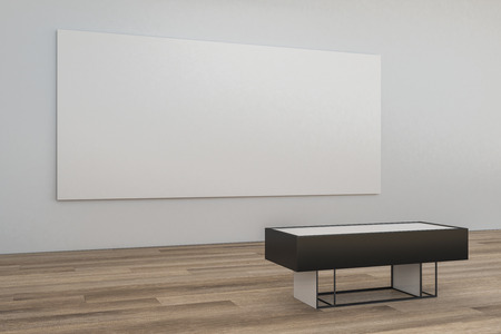 Modern museum interior with blank banner on concrete wall and wooden floor with bench. Mock up, 3D Rendering