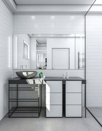 Clean bathroom interior with sink and mirror. Luxury style concept. 3D Rendering
