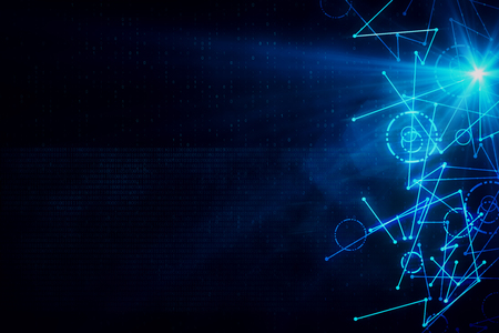 Abstract digital background with lines and binary code. Technology and innovation concept. 3D Rendering