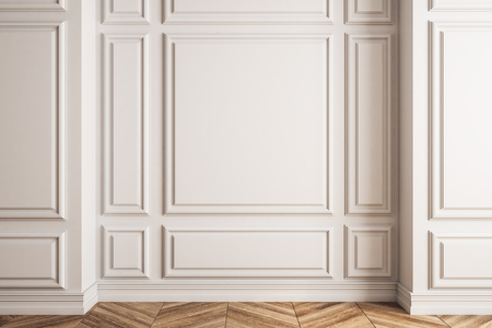 Empty white wall in classic interior with wooden floor. Mock up, 3D Rendering
