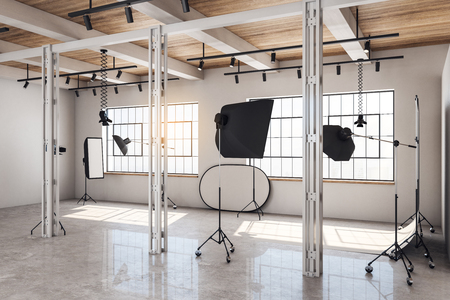White bright photo studio interior with daylight and professional equipment. 3D Rendering
