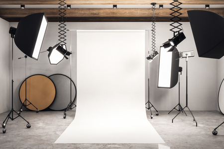 Modern photo studio interior with white background, professional equipment and concrete floor. Mock up, 3D Rendering Stok Fotoğraf