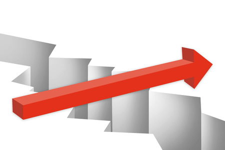 Red arrow over gap. Challenge and overcome concept. 3D Rendering Stock Photo