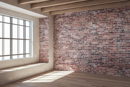 Contemporary loft red brick interior with window and sunlight. 3D Rendering