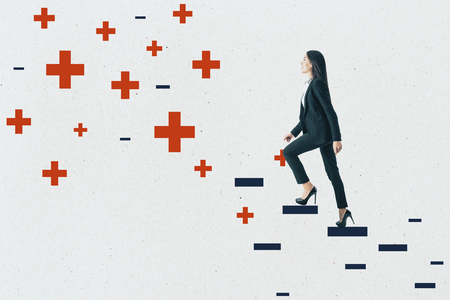 Young businesswoman climbing abstract plus and minus ladder on concrete wall background. Medicine, health and ambition concept