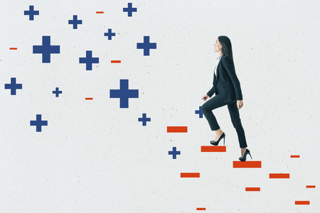 Young businesswoman climbing abstract plus and minus ladder on concrete wall background. Medicine, health and success concept