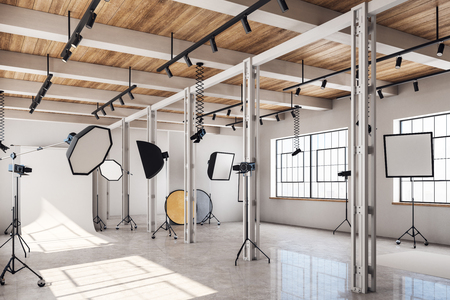 Clean bright photo studio interior with daylight and professional equipment. 3D Rendering