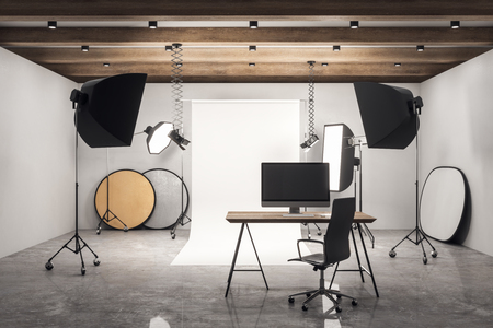 Concrete photo studio workplace with professional equipment. 3D Rendering