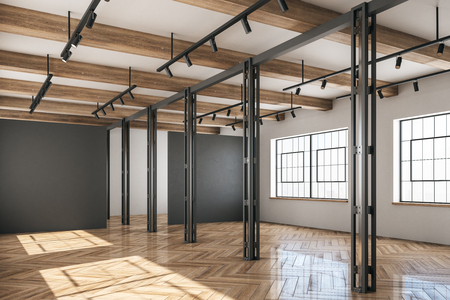 Light concrete and wooden warehouse interior with windows and sunlight. Storage concept. 3D Rendering Stock Photo