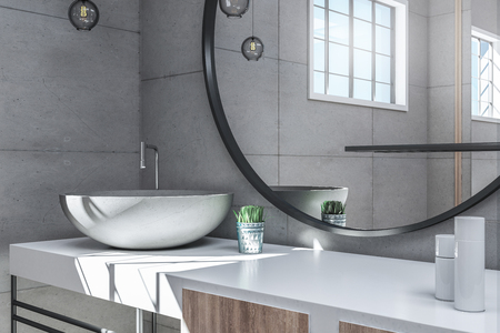 Close up of bathroom interior with sink and mirror. Luxury style concept. 3D Rendering
