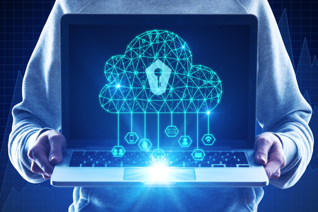 Hands holding laptop with glowing polygonal cloud and keyhole. Cloud computing and web safety concept. Double exposure Stock Photo