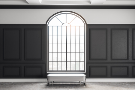 Stylish classical interior with window, bench and sunlight. 3D Rendering