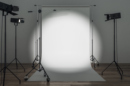 Modern photo studio with professional lighting equipment and white background. Photgraphy concept. Mock up, 3D Rendering Stok Fotoğraf