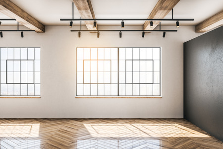 White concrete and wooden warehouse interior with windows and sunlight. Storage concept. 3D Rendering