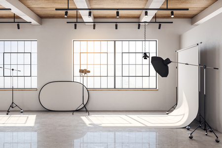 Contemporary bright photo studio interior with daylight and professional equipment. 3D Rendering Stok Fotoğraf