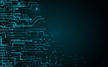Fondo de circuito borroso con puntos. AI y concepto de conexión. Representación 3D Foto de archivo