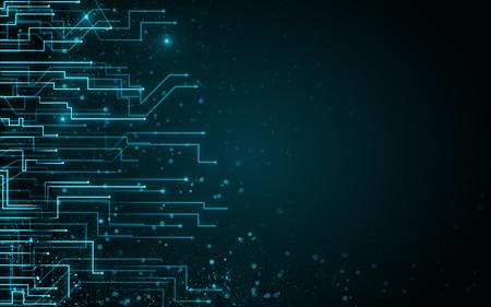 Wazig circuit achtergrond met stippen. AI en verbindingsconcept. 3D-rendering Stockfoto