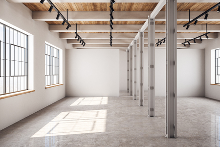 Modern concrete and wooden warehouse interior with windows and sunlight. Storage concept. 3D Rendering