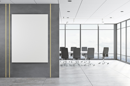Contemporary meeting room interior with empty copyspace on concrete wall, panoramic city view, daylight and furniture. Mock up, 3D Rendering Archivio Fotografico - 117609622