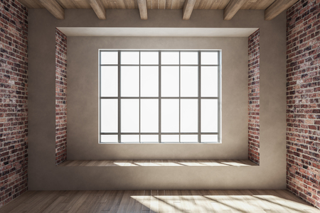 Clean loft red brick interior with window and sunlight. 3D Rendering
