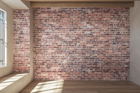 Modern loft red brick interior with window and sunlight. 3D Rendering Banco de Imagens