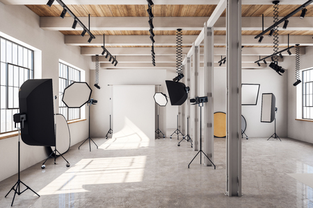 Modern bright photo studio interior with daylight and professional equipment. 3D Rendering