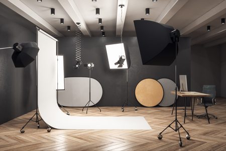 Contemporary photo studio workplace with professional equipment. 3D Rendering