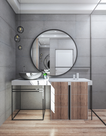 Modern bathroom interior with sink and mirror. Luxury style concept. 3D Rendering