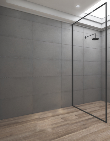 Clean bathroom interior with glass shower and copy space on tile wall. Ad and design concept. 3D Rendering Stock fotó