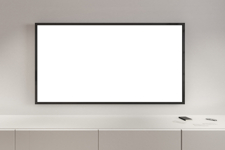 Close up of empty white TV in modern interior. Ad and commercial concept. Mock up, 3D Rendering