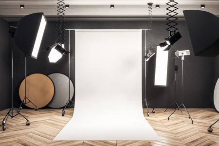 Modern photo studio interior with white background, professional equipment and wooden floor. Mock up, 3D Rendering Stok Fotoğraf