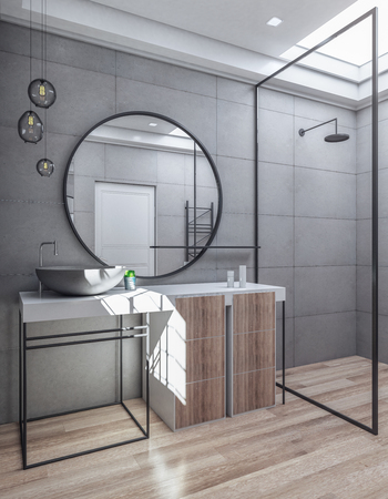 Contemporary bathroom interior with sink and mirror. Luxury style concept. 3D Rendering Standard-Bild - 118031371