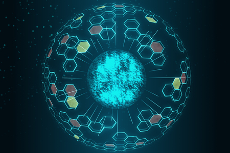 Abstract glowing circle hologram on dark background. Technology and innovation concept. 3D Rendering Stock fotó