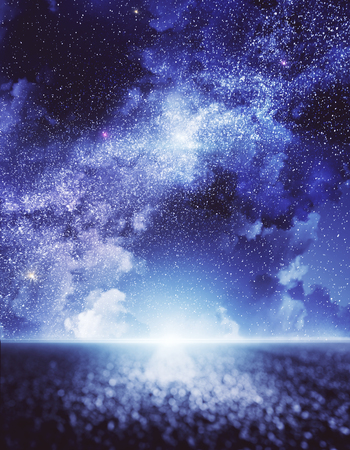 Road with beatiful starry night sky with clouds background. Freedom and ambition concept Stock Photo - 118031386