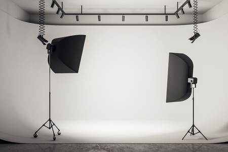 Modern photo studio interior with professional equipment and background. 3D Rendering Imagens