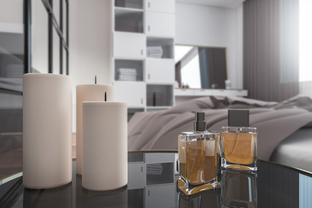 Close up of candles and perfume on bedside table in bedroom. Design concept. 3D Rendering Archivio Fotografico - 118031830