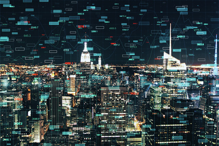 Creative forex chart on illuminated night New York city background. Invest and broker concept. Double exposure