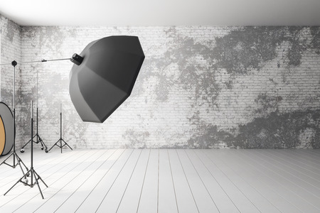 Stylish photo studio interior with professional equipment and background. 3D Rendering