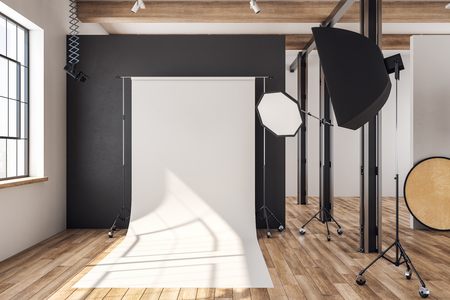 Clean loft photo studio interior with professional equipment and background. Mock up, 3D Rendering