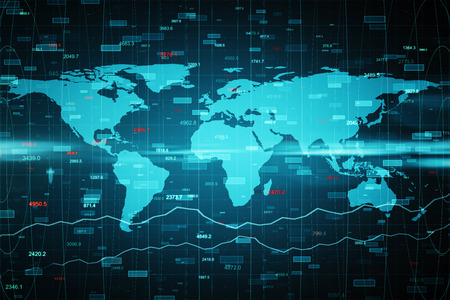 Abstract forex background with map. Global business and invest concept. 3D Rendering Stock fotó