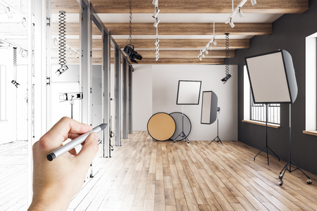 Hand drawing creative photo studio. Design and architecture concept. 3D Rendering Stok Fotoğraf