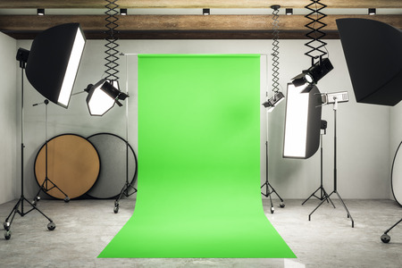 Modern photo studio interior with green background, professional equipment and concrete floor. Mock up, 3D Rendering Фото со стока