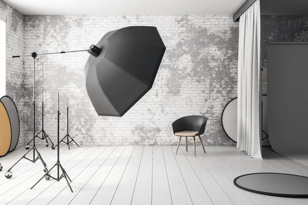 Minimalistic loft photo studio interior with professional equipment and background. 3D Rendering